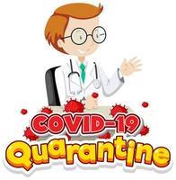 cartaz de quarentena de coronavírus dos desenhos animados vetor