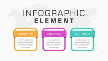 Elementos de negócios infográfico colorido de 3 etapas