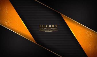 forma abstrata luxo fundo preto e laranja com linhas douradas