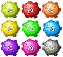 close-up conjunto de células de desenhos animados de vírus