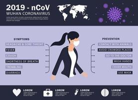 infográfico roxo de coronavírus covid-19 ou 2019-ncov vetor