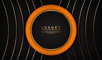 fundo abstrato preto e laranja de luxo com linhas douradas em círculo
