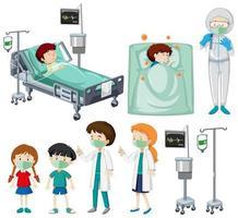 conjunto de pacientes e médicos vetor