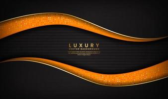 fundo abstrato preto e laranja de luxo com linhas douradas em design de onda