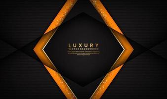 fundo abstrato preto e laranja de luxo com linhas douradas em forma de losango