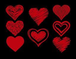 Conjunto de corações do Doodle vetor