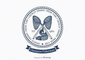 Emblema livre do vetor da pesca do vintage