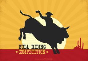 Cartaz livre do vetor do cavaleiro de Rodeo Bull