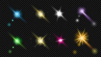 conjunto de reflexos de lente e elementos de flash coloridos vetor