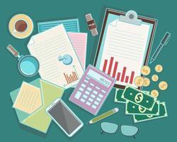 vista de cima para baixo de elementos de negócios e finanças