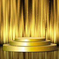 pódio de exibição dourada na frente das cortinas vetor