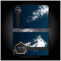 cartões de luxo azul com respingos e emblemas geométricos vetor