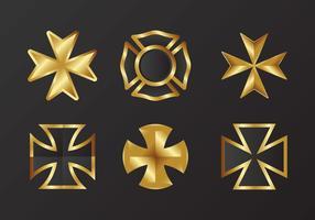 Vetor da cruz maltesa de ouro