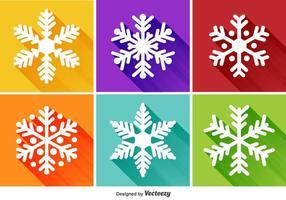 Ícones planos de flocos de neve vetor
