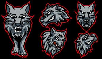 cabeça de lobo em diferentes pontos de vista vetor