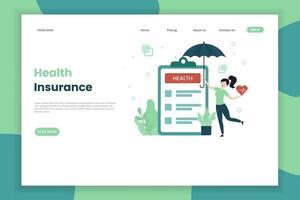 página de destino do seguro de saúde vetor