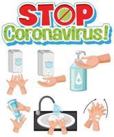 pare de entregar o coronavírus conjunto de lavagem