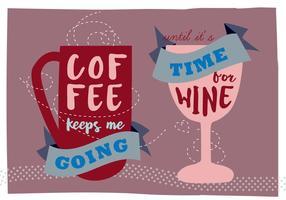 Fundo de Ilustração de Café e Vinho Grátis vetor