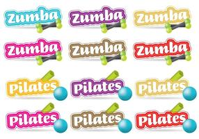 Títulos de Zumba e Pilates vetor