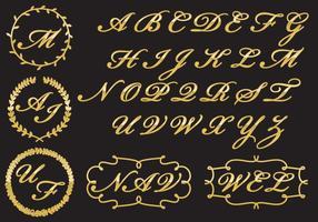 Monogramas dourados vetor