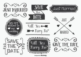 Conjunto de etiquetas Mariage com estilo desenhado à mão