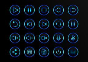 Botões Ícones de vetores multimídia