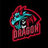 emblema de cabeça de dragão para esportes vetor