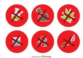 Sem drogas Ícones do círculo vermelho vetor