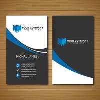 modelo de cartão corporativo vertical azul e preto vetor