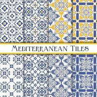 conjunto de padrões mediterrânicos amarelos e azuis vetor