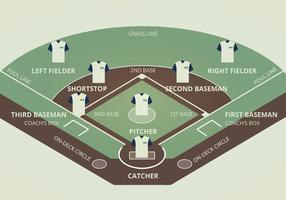 Ilustração do vetor do diamante do basebol