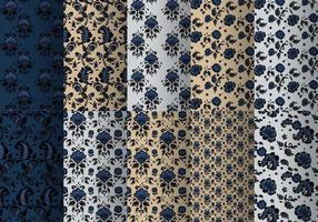 Pacote de padrões barrocos azuis vetor