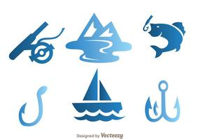 Pescando ícones azuis vetor