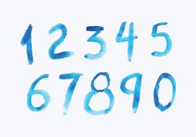 Números de estilo aquarela vetor