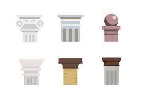 Ícones planos da coluna romana vetor