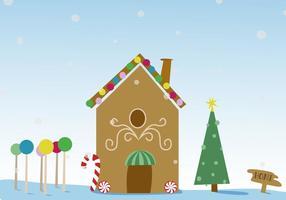 Vetor de casa de pão de gengibre de Natal grátis