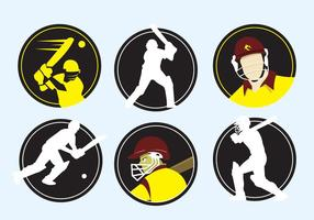 Ícones do jogador Cricket vetor
