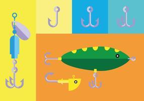 Ganchos de peixes planos vetor