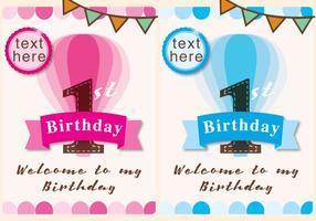 Convite 1ª Aniversário Menina e Menino vetor