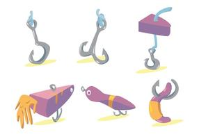 Conjunto de vetores de gancho de peixe