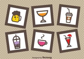 Ícones de bebida em quadros vetor