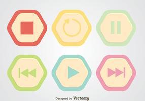 Botão Round Hexagon Media Player vetor