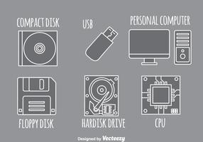 Ícones cinzentos do computador vetor