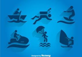 Ícones Vlue de esportes aquáticos vetor