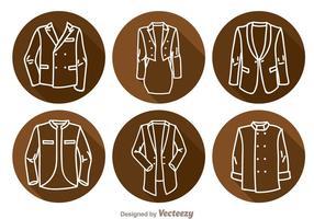 Ícones longos da sombra da jaqueta vetor