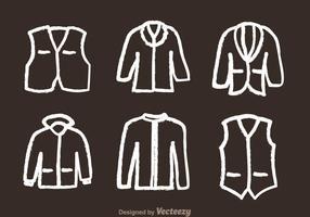 Ícones de desenho de giz da jaqueta vetor