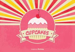 Ilustração retro retro do fundo do cupcake do estilo retro vetor
