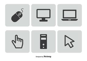 Conjunto de ícones relacionados ao computador vetor