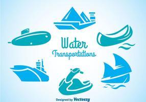 Ícones de transporte de água vetor