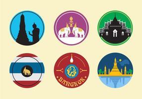Ícones da Cidade de Banguecoque vetor